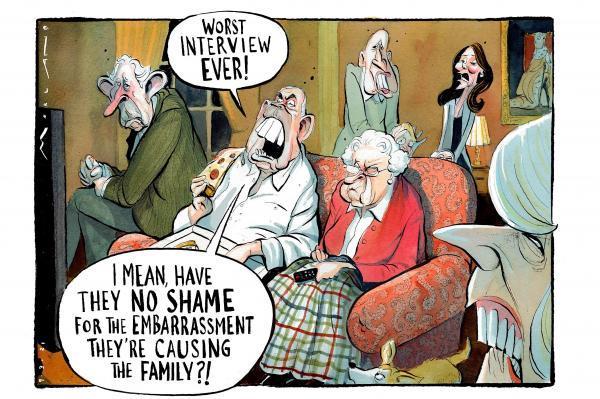 کاریکاتور روزنامه تایمز به رسوایی خاندان سلطنتی انگلیس